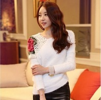 2013 autumn elegant cutout crochet rose plush irregular knitted sweater
