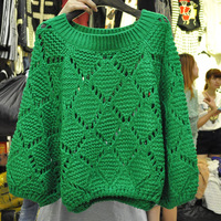 2013 autumn and winter batwing sleeve thickening cutout lantern sleeve pullover sweater preppy style loose female