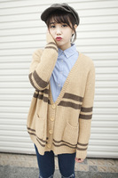 Fresh 2013 preppy style loose large horizontal stripe sweater outerwear cardigan female