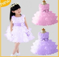 2013 new summer girl dress, ball gown, flower, princess dress, sleeveless, fashion layed, with belt ,Pink/purple, Free Shipping