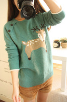 Preppy style cartoon onta wood button decoration pullover sweater
