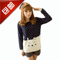 2013 preppy style sweater knitted blouses basic shirt young girl basic sweater