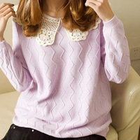 2013 lace peter pan collar sweet juniors sweater preppy style pullover 100% cotton thick sweater