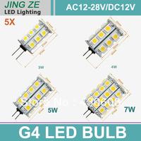 5pcs G4 SMD5050 3W 4W 5W 7W Led Light LED car bulbs Pure White / Warm White /Cold White Bulb Lamp AC12-28V or DC 12V