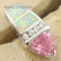 Pink Topaz White Fire Opal Silver Fashion  Jewelry Women & Men Pendant OP628BC Wholesale & Retail