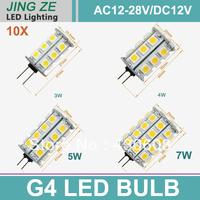 10x G4 24 SMD 5050 3W 4W  5w 7W  LED Light Pure White / Warm White /Cold White Bulb Lamp AC12-28V / DC 12V