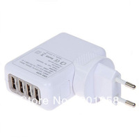 Universal 4 USB Ports EU Plug Home Travel Wall Charger Adapter For  ipad 2/3 Samsung Galaxy S4 S3 iphone 4S 5