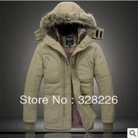Free shipping Winter men's clothing fur collar thickening down cotton wadded jacket plus size Russia's Outdoor warm clothe L-4XL
