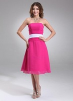 A-Line/Princess Strapless Tea-Length Chiffon Bridesmaid Dress With Ruffle Sash HWGJBD113