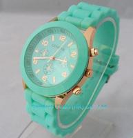 Wholesale && 1000Pcs Women Geneva Silicone Jelly Gel Quartz Analog Sports Wrist Watch Mint Grenn etc 11Colors Available