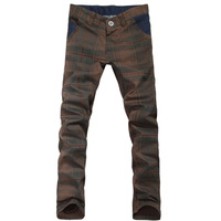 Men's trousers male fashion casual pants male slim plaid skinny pants