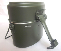 WWII GERMAN M31 MESS TIN GREEN WITH HANDLE