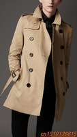 High Quality Mens Trench Coat Free Shipping 2013, Wholesale Mens Leather Inlay Double-Breasted Long Coat Hot Sale