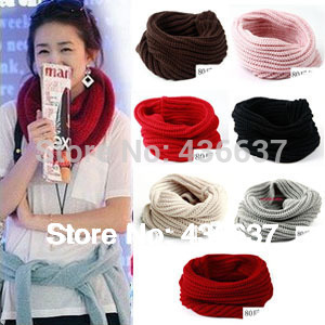 Fashion Women Warm Knit Neck Circle Wool Blend Cowl Snood Long Scarf Shawl Wrap(China (Mainland))