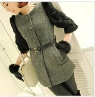 Autumn and winter woolen overcoat patchwork rabbit fur sleeves half sleeve women's slim medium-long  woolen outerwear overcoat