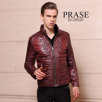 FREE SHIPPING Prase men's clothing 2012 winter male Wine red thin short design slim down wadded jacket coat male outerwear