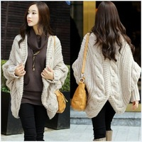 Hot sale 2013 autumn and winter outfit irregular sweep OL thick loose twist yarn batwing cape shirt long design cardigan