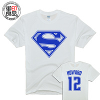 High quality 12 super man 100% cotton o-neck short-sleeve Men sports jersey t-shirt