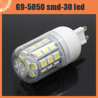 10pcs E14 E27 G9 5W 30 5050 SMD LED Light Bulb White / Warm White 220V Corn spotlight LED Lamp bulbs With Cover Free Shipping