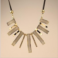 SP343 European and American big geometric shaped frosted leather cord necklace tassel