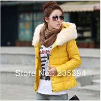 Women's short design down wadded jacket slim thickening fur collar cotton-padded jacket outerwear Free Shipping