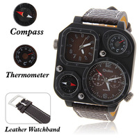 Christmas gift Oulm double movement watch thermometer quartz strap au lait male watch brown table  relojes free shipping
