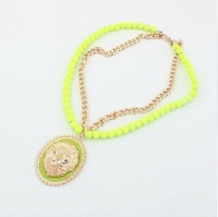 sp357 fluorescent colors European and American lion head necklace