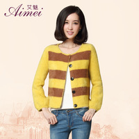 2013 stripe patchwork mink sweater o-neck long-sleeve short design marten velvet cardigan outerwear 6618