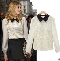 Women New Fashion Doll Collar Lace Chiffon Long-Sleeved  Collar Shirt Tops Free Shipping