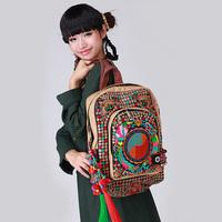 2014 embroidered bag hemp  pompon hanging ear  big bags