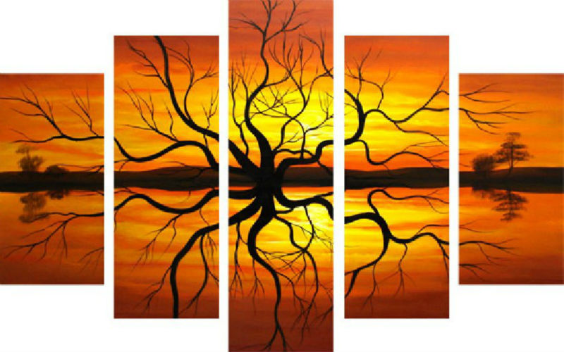Abstract scenery sunset tree pictures oil painting on canvas for