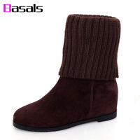 2015 autumn and winter yarn boots genuine leather boots elevator female flat heel comfortable thermal stovepipe women's boots