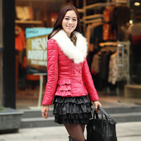 2013 new arrival women's slim cotton-padded jacket fur collar short design suede wadded jacket outerwear women's wadded jacket