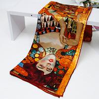 2013 Fashion Women Scarf 100% Mulberry Silk Square Scarves Famous Art Printing Shawl Poncho Wrap Handmade Trim 90x90cm SF0136