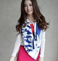 2013 Fashion Scarf 100% Mulberry Silk Square Scarves Shawl Poncho Wrap Printing Handmade Trim 90X90cm 3Color Freeshipping SF0130