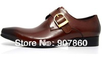 HOT SALE ! 2013 new buckle Black / brown tan /Dark yellow/mens dress shoes genuine leather wedding formal work shoes pointed toe