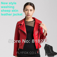 2013 fashion women ladies real sheepskin genuine leather short jackets red  jacket coats coat womens