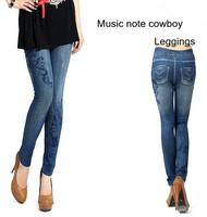 Music note cowboy print / Leisure Fashion Women Leggings Polyester / spandex jeans