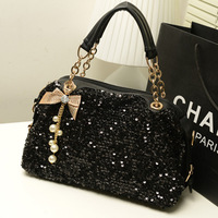 2013 women's handbag bow pearl chain paillette bags shoulder cross-body bag female bag