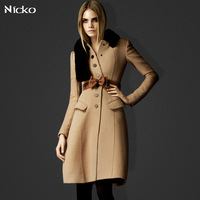 Free shipping Flannel Women winter long camel wool blend Coat large Turn Down Collar sashes Windproof Outdoor Wear N016