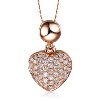 ZOCAI brand 0.20 CT CERTIFIED18K rose gold heart shape DIAMOND Pendant  + 925 STRLING SILVER CHAIN Necklace Fine Jewelry D03359