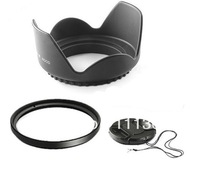 77mm 77 mm Flower Lens Hood +UV Filter +Lens Cap for Canon EOS 400D 550D 500D 600D 1100D Nikon D80 D50 D7000 D3100 DS DSLR