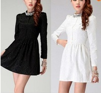 New 2014 spring Flower casual cute mini woman dress spring winter stand collar rhinestone slim elegant business dresses WD101422