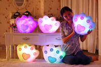 Colorful LED Light Pillow, Bear Foot Glow LED Pillow Best Gift for Valentine/Christmas