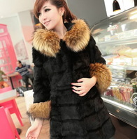 Free Shipping 2013 New Arrival Fashion Casual Women Winter Long Faux Fur Collar Snow Coats G0210