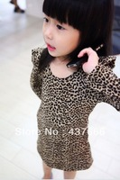 1pcs baby girl clothing taste leopard print ruffle hem one-piece dress Children clothes Clothing