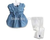 SH270 Free shipping!!(Retail)2013 summer clothing set denim top + white pant children girls fashion brand suit