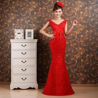 2013 quality wedding formal dress slit neckline bridal evening dress red long design fish tail formal dress