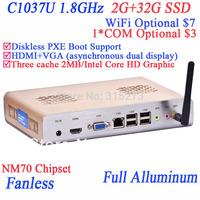 2013 PC Desktop fanless pc with directx11 COM Wifi optional 2G RAM 32G SSD Intel Celeron C1037U 1.8GHz HD Graphics L3 2MB