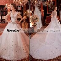 Free Shipping High-end Custom Empire Palace Backless Luxury Royal Train Beading Bow Bridal Gown/Wedding Dress HoozGee-8639